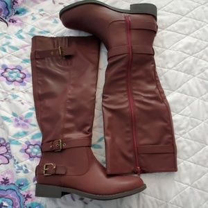 JustFab Knee High Burgandy Boots Size 8.5